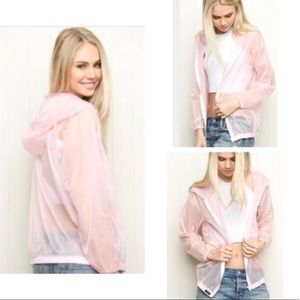 brandy melville sheer pink jacket